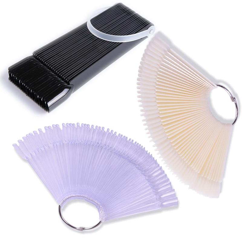1Set False Nail Tips Nature Clear Black Fan Finger Full Card Nail Art Display Practice Acrylic UV Gel Polish Tool Manicure JI386