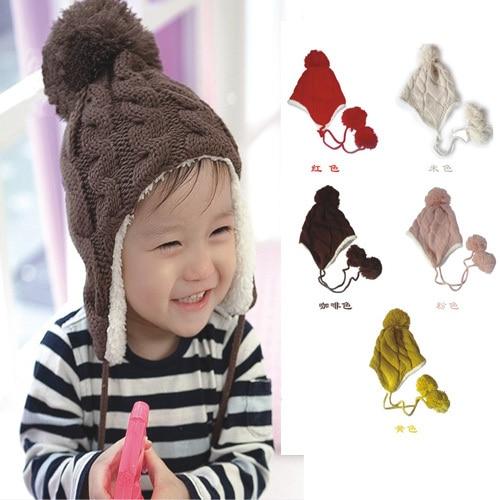 երեխա աղջիկ ձմեռային տաք գլխարկներ Կորեական Սուպեր գեղեցիկ նորաձևություն գումարած թավշյա կրկնակի թեքություն ծանրաբևեռ գնդիկով գնդիկով տրիկոտաժի գլխարկ ականջ