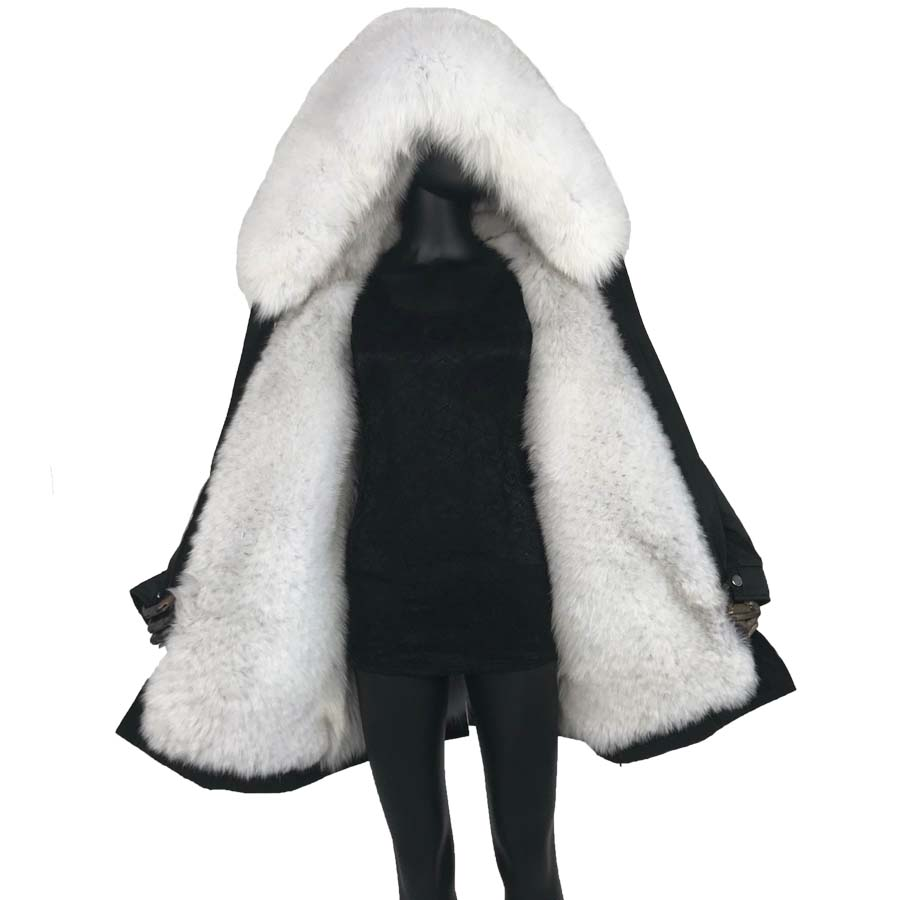Véritable manteau de fourrure de renard naturel parka avec fourrure de renard grand grand col de fourrure de renard et doublure épais chaud mode nouvelles femmes imperméables