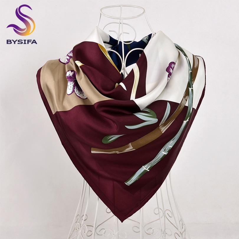 BYSIFA Ladies Twill Scarves Wraps Fashion Brand Silk Square Scarf Shawl 90*90cm Purple Bamboo Floral Design Top Grade Scarf Cape