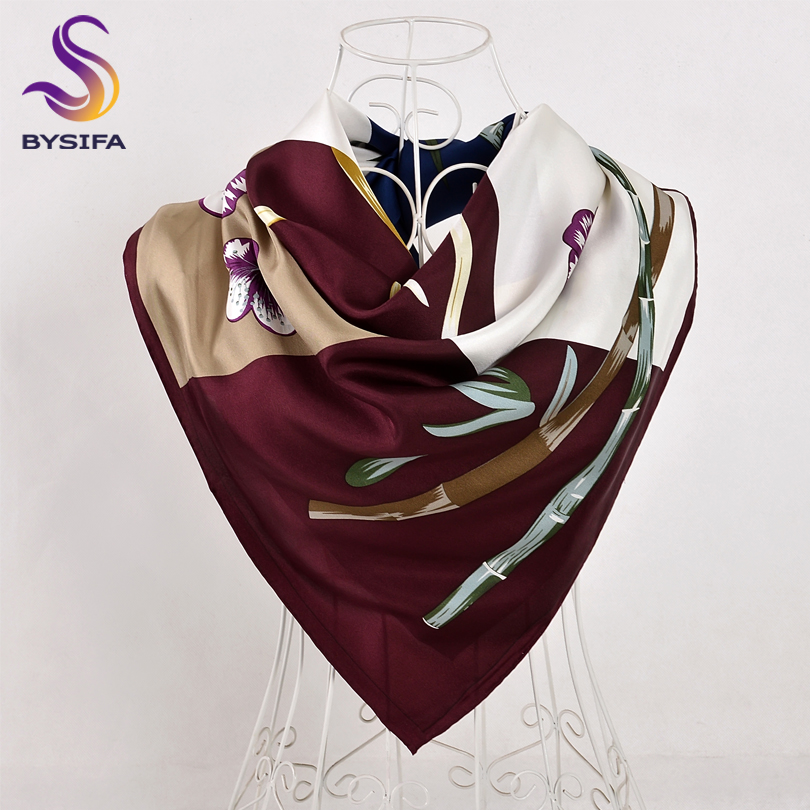 BYSIFA Ladies Twill   Scarves     Wraps   Fashion Brand Silk Square   Scarf   Shawl 90*90cm Purple Bamboo Floral Design Top Grade   Scarf   Cape