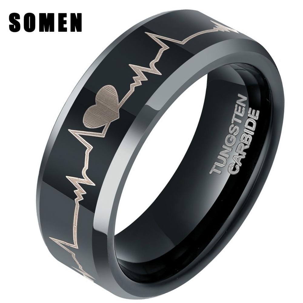 ebbcefad0b 8MM Men's Black Tungsten Carbide Engagement Ring Forever Love Heart beat  ECG Promise Rings Wedding Band Fashion Male Jewelry-in Rings from Jewelry  ...