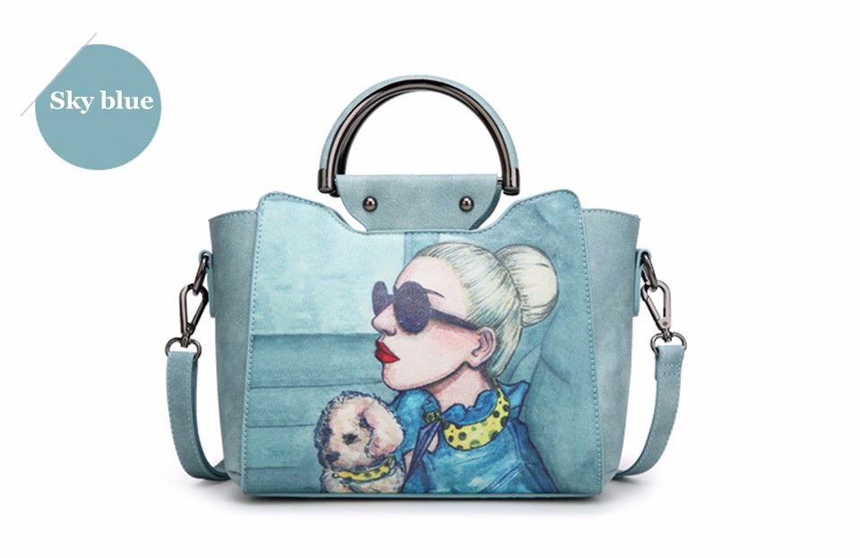18 Famous Designer Brand Tote Bags Women High Quality Leather Handbags Shoulder Bag For Ladies Vintage Print Handbag Blue Pink 17