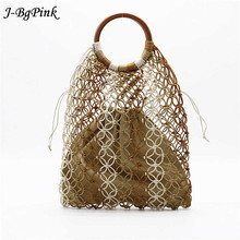 Hand woven Hollow wood straw handle New Woven bag woman beach 2019 new fashion