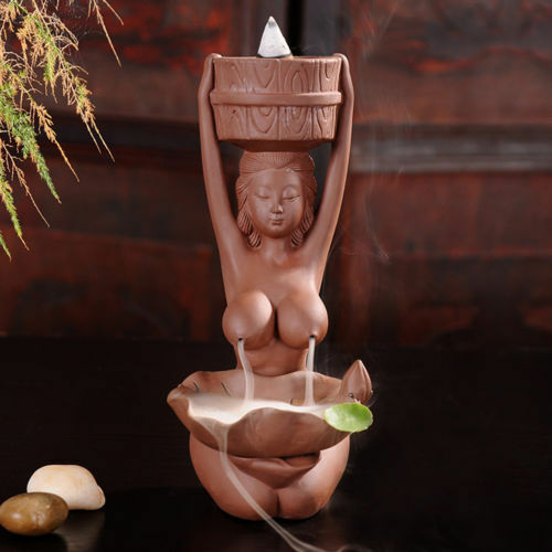 Collection Chinese Purple Sand Naked Women Backflow Incense Burner Beautiful Small Censer Statue