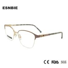 Luxury Ladies Cats Eye Glasses Frames Stainless Steel Optical Frame Cat Rhinestone Eyeglasses For Women