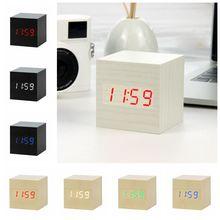 JULY'S SONG LED Wooden Alarm Clock Voice Control Digital Wood Despertador Electronic Desktop USB/AAA Powered Clocks Table Decor