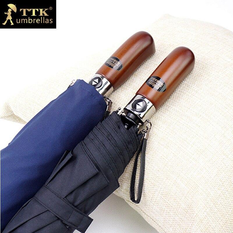 Doppel schichten big regenschirme männer automatische regenschirm winddicht TTK regen 3 falten holzgriff angeln männlichen sonnenschirm für mann geschenk