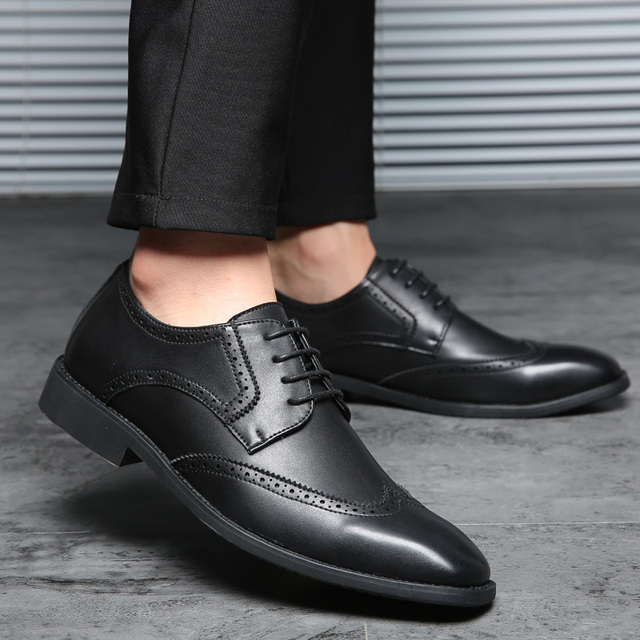 ROXDIA plus size 39-48 men wedding shoes microfiber leather for man dress shoes men's oxford flats formal business shoe RXM093
