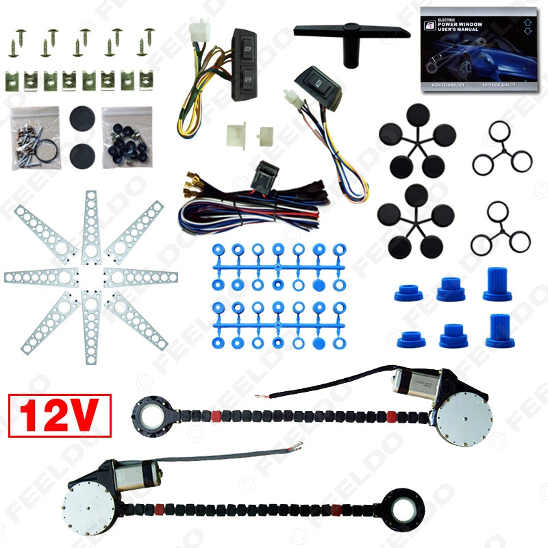 Car Auto Universal 2 Doors Electric Power Window Kits with 3pcs Set Switches and Harness FD