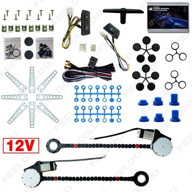 Car Auto Universal 2-Doors janela de energia elétrica Kits com 3 interruptores e Harness # FD-902 pçs/set