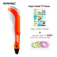 Myriwell 1nd 3D Doodler Pen 3D With Paper Model 20 Pieces ABS 20Color 10 M Color