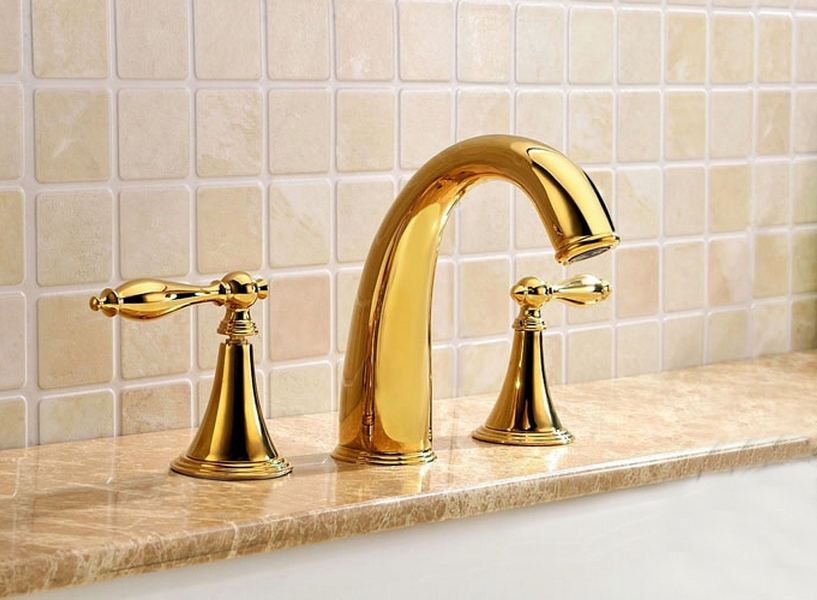 Basin faucet solid brass chrome finished 3 pcs gold faucet set 2 handles sink basin faucet for Gold and chrome bathroom faucets