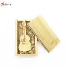 usb flash drive 128GB 3.0 pen 64gb pendrive 32gb 4gb 8GB wooden guitar box 16gb 1 free custom LOGO gift
