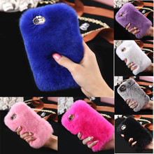 overmal Luxury Crystal Bling Case Winter Warm Fluffy Villi Fur Plush Wool Bling Case Cover Skin For iphone 7 Plus Drop Shipping