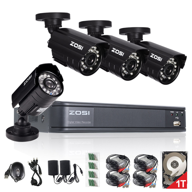 ZOSI 4CH CCTV System 4CH 720P DVR 4PCS 1.0MP IR Weatherproof Outdoor CCTV Camera 1280TVL Home Security System Surveillance Kits