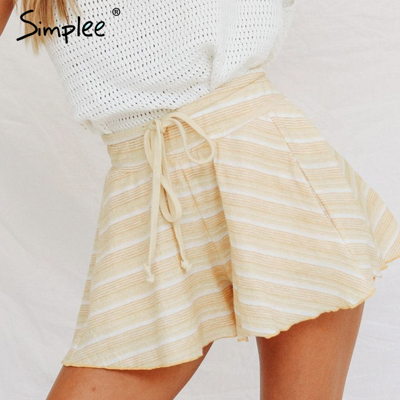 Simplee Casual Knitted Striped Women Shorts High Waist Lace Up Summer Yellow Bottom Vintage Loose Beach Female Spring Shorts