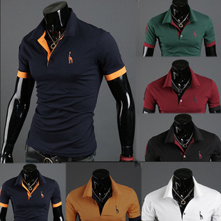 2018 Hot Mens   Polo   Shirt Brands Male Short Sleeve Fashion Casual Slim Deer Embroidery Printing   Polos   Men Jerseys