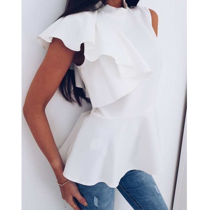 Mishenko Ruffles Tank Top Women Chiffon Blouses 2018 New Summer Sleeveless Shirt Sexy Loose Female Top Vest Casual Chiffon Shirt