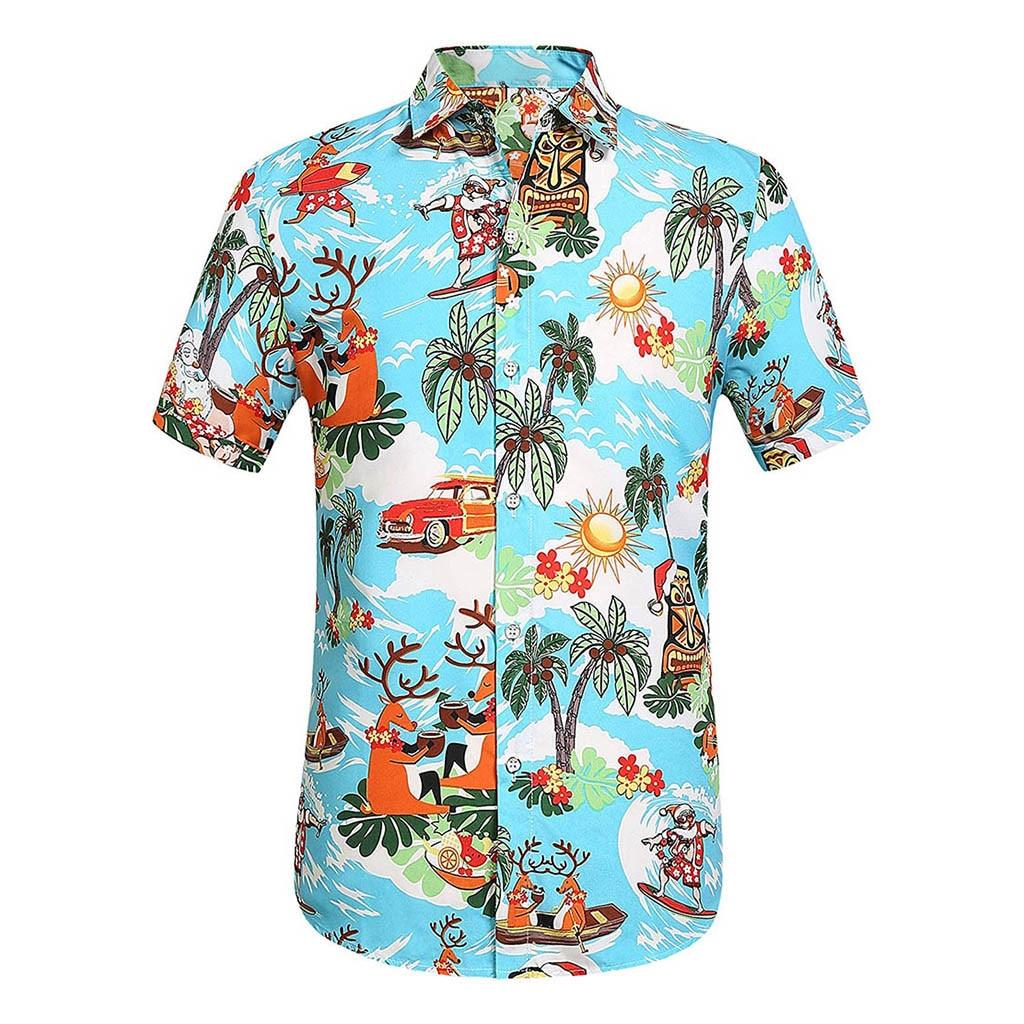 Hot Men Summer Casual Printed Button Down Short Sleeve Shirt Hawaiian Top Blouse Man 2019 New Printed Shirts High Quality