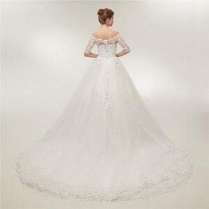 Image 3 - Женское свадебное платье со шлейфом Fansmile, винтажное кружевное платье из фатина с длинным рукавом, модель 2020