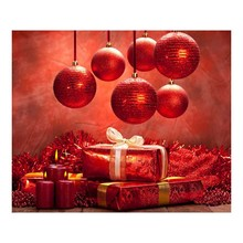 Christams Decor Red Ball Candle Gifts 7X5ft Children Baby Photography Backdrops Prop Digital Printed Photo Studio Background