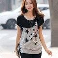 5XL 2016 summer PLUS size Korean LACE stitching round neck short batwing sleeve women t-shirt female cotton t shirt TS142