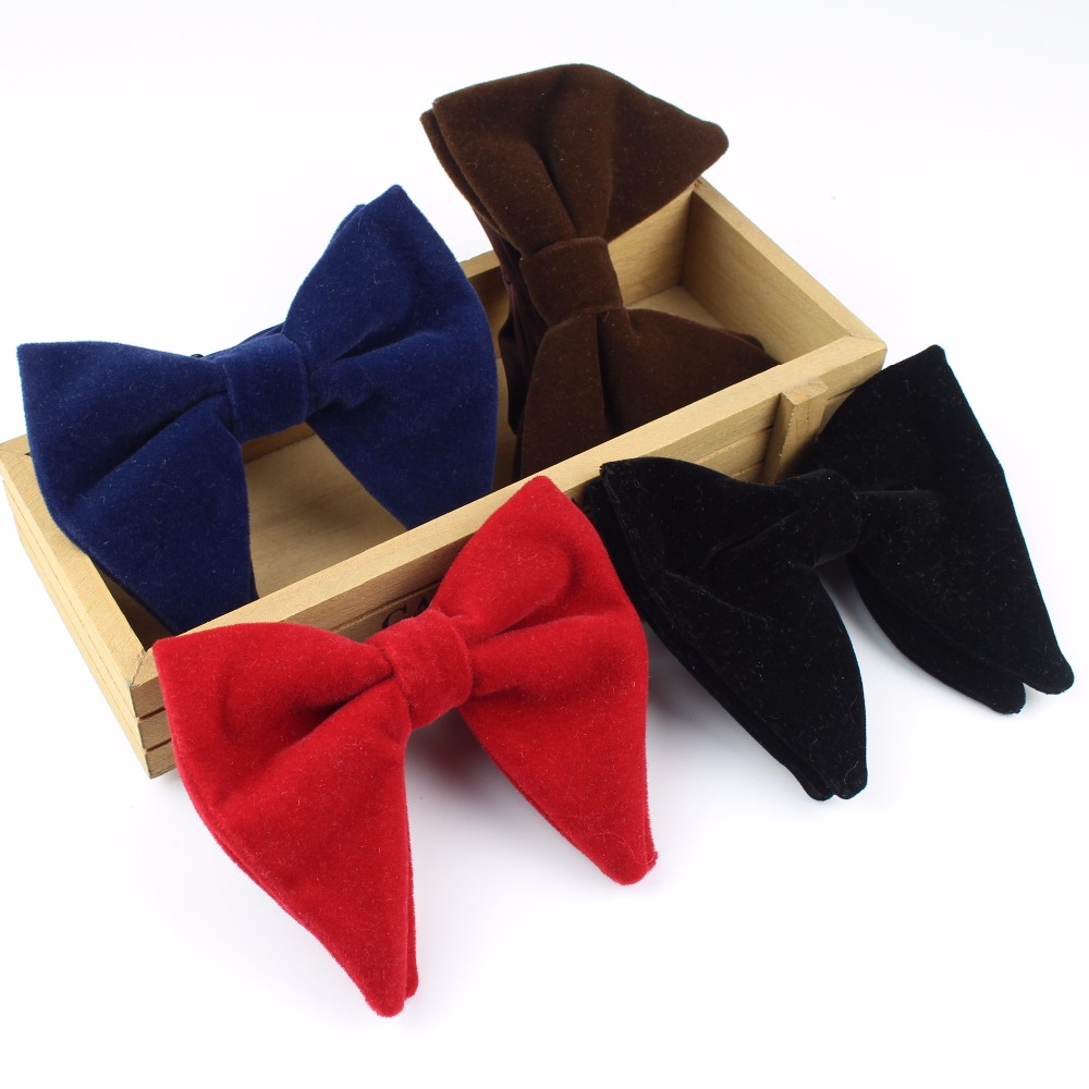 Women Solid Micro Suede Big Bowties Groom Leather Mens Plaid Soft Cravat Thick Butterfly Gravata Male Wedding Bow Ties