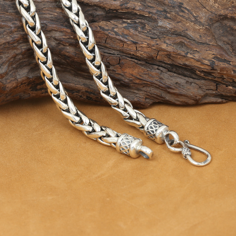 6MM Real Silver Necklace 925 Silver Thailand Silver Necklace Designer Vintage Silver Neckace Man Necklace hot sales 925 silver necklace charm woman man 50cm silver 6mm full sideways necklace fashion brand jewelry