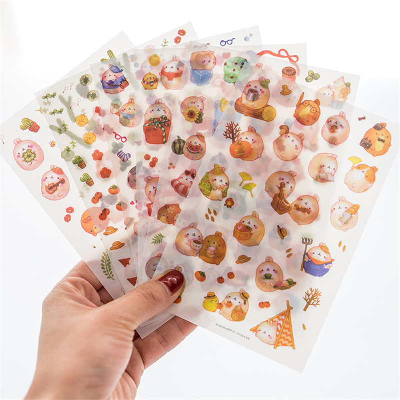 Jamie Notes Lovely Stickers Cute Transparent Sticker Kawaii Seal Notebook Planner Sticker Pink Stationery School Supplies