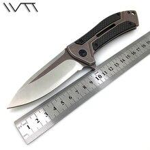 WTT 0801 Folding Pocket Knife D2 Blade Steel + Carbon Fiber Handle Tactical Combat Survival Knives Utility Camping Hunting Tools