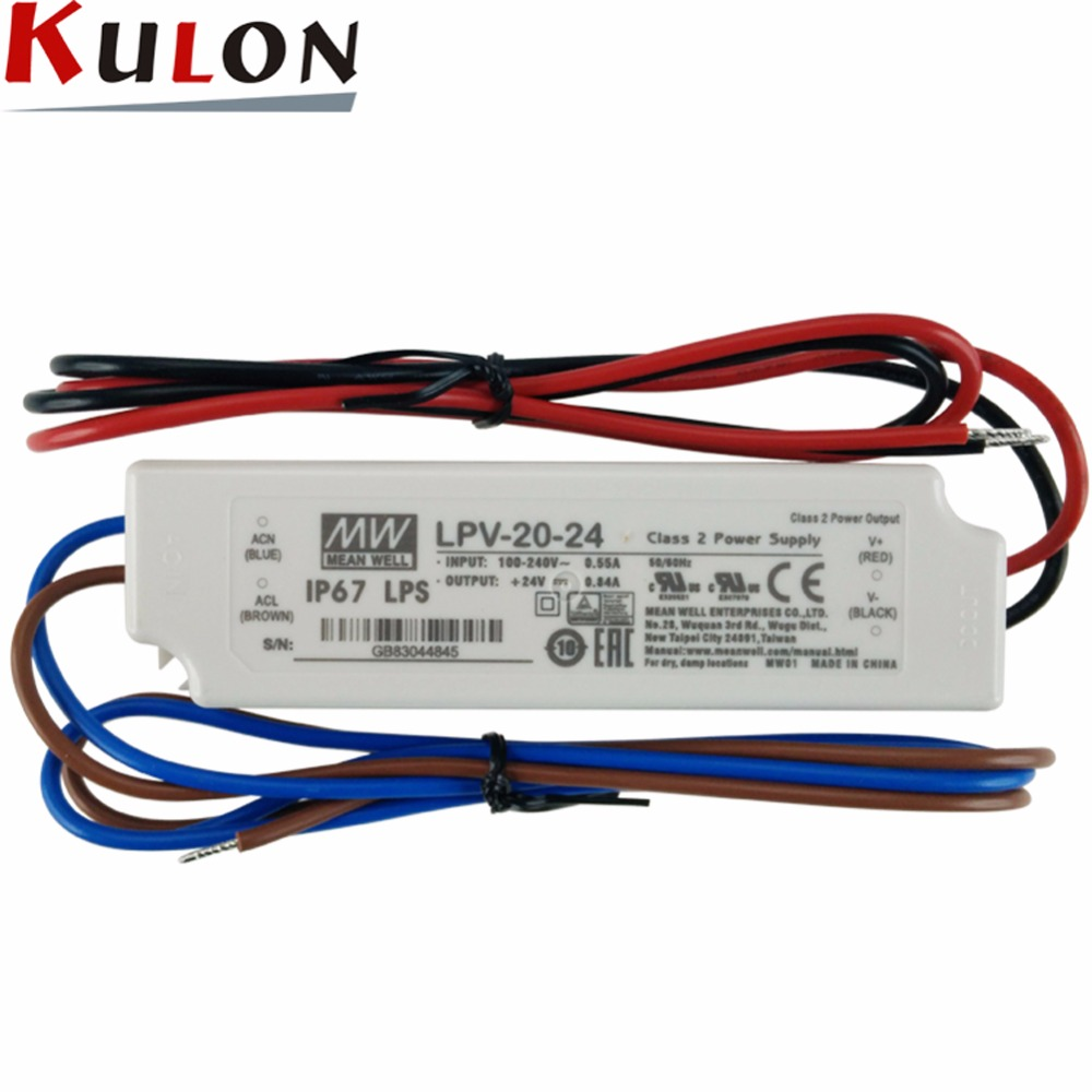 Original MEAN WELL LPV-20-24 20W 0.84A 24V LED Power Supply meanwell IP67 waterproof led driver LPV-20 series input 90-264VAC meanwell 24v 60w ul certificated lpv series ip67 waterproof power supply 90 264v ac to 24v dc