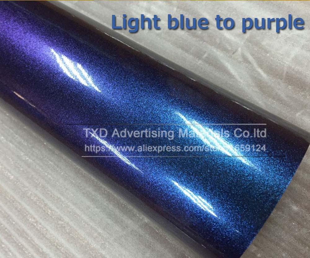 Темно-синий фиолетовый хамелеон Блестящий жемчужная виниловая оберточная пленка с пузырьками без воздуха Хамелеон блестящий фильм с 4 размерами - Название цвета: light blue to purple