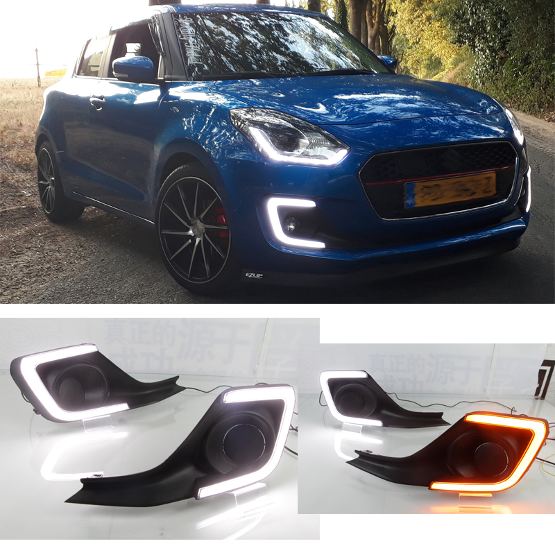 WHITE YELLOW LED DRL Daytime Runing Lights with turn Signal For Suzuki Swift 2018 2019WHITE YELLOW LED DRL Daytime Runing Lights with turn Signal For Suzuki Swift 2018 2019