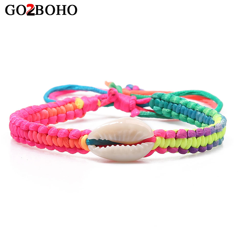 Go2boho Shell Charms Bracelets Women Colorful Woven Rope-rope Adjustable 2018 New Leather Bracelet & Bangle Jewelry Lovers Gifts