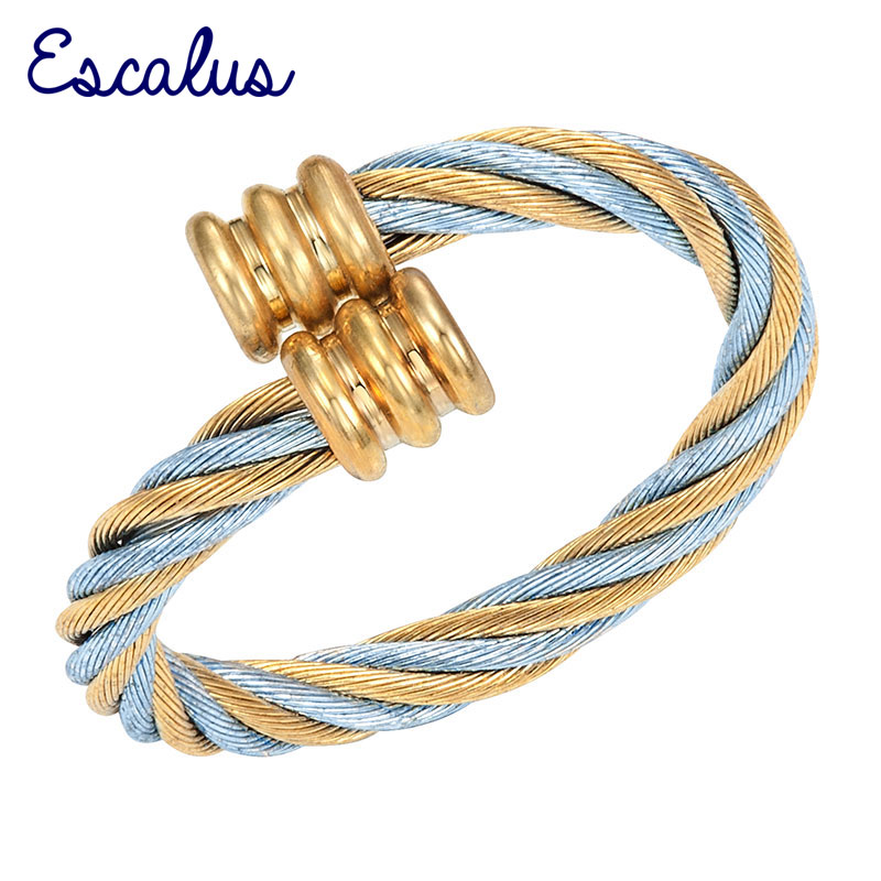 Escalus Women 2-Tone Gold Blue Size Adjustable Magnetic Resizable Ring Female Magnet Ladies Jewelry Finger Wear Charm