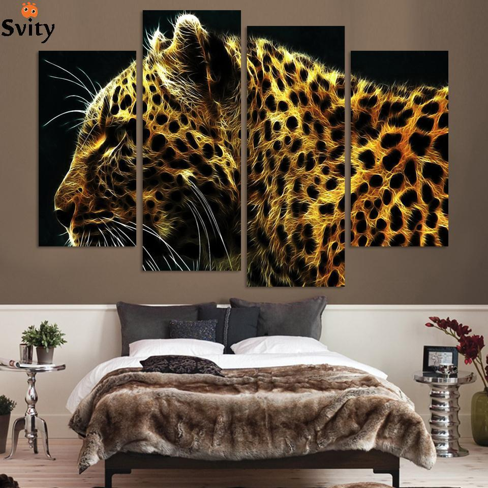 4 Panel Leopard Pictures Oil Painting Wall Decor Canvas Pop Art Cuadros High Defination Prints For