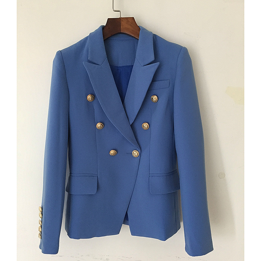 HIGH STREET New Fashion 2019 Designer Blazer Jacket Women's Metal Lion Buttons Double Breasted Blazer Outer Coat Lake blue