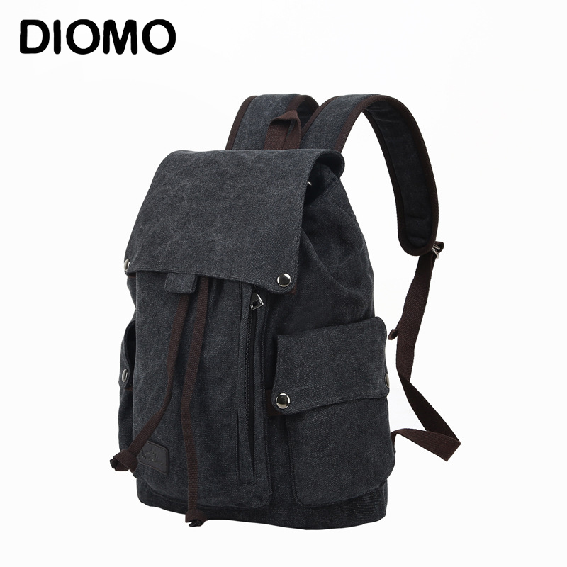 Backpack Vintage Drawstring Canvas Backpack Schoolbag Male Bagpack Travel Bags Rucksack Large School Bags