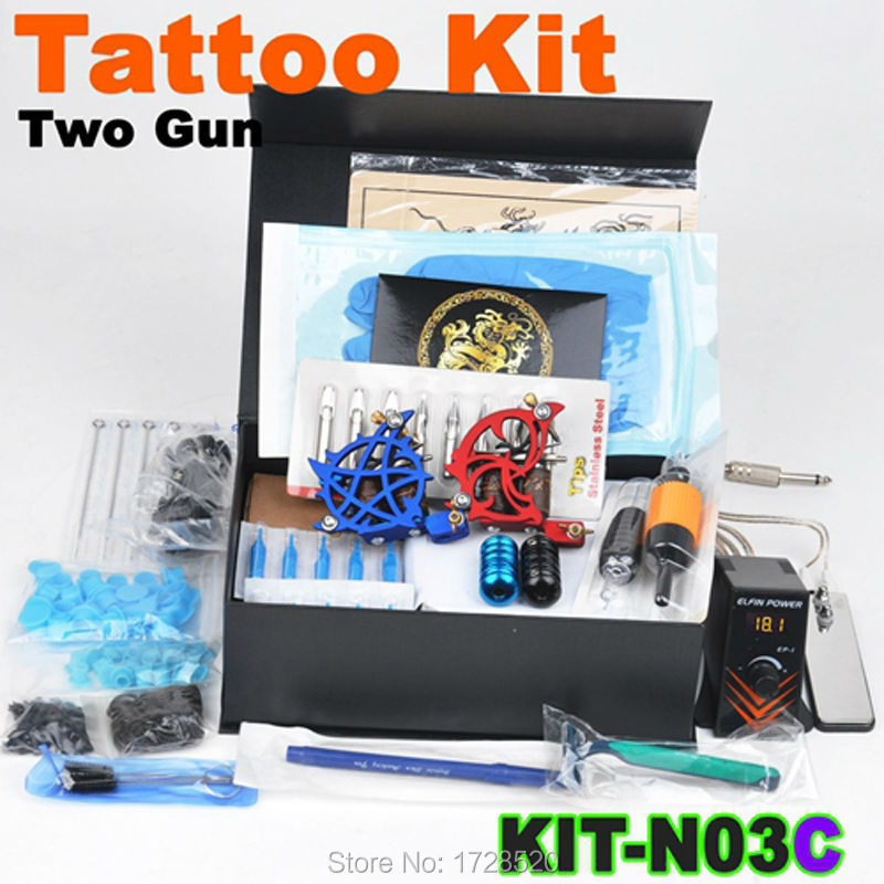 Complete Tattoo Kit Beginner 2x Tattoo Machine Guns Power Supply  Mixed Needles without Tattoo Inks Body Tatto Art KIT-N03C beginner tattoo kit 1 machine gun 4 inks needles tattoo power supply d1025gd 2