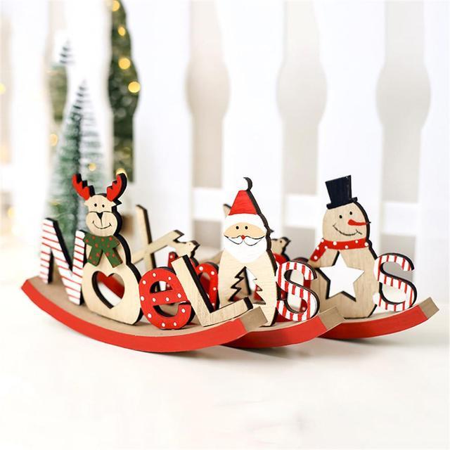 b3873e6b09d7 Nova Natal Papai Noel De Madeira Alfabeto Família É Dividido em Ornamentos  Decorativos 3 Bonito Estilo