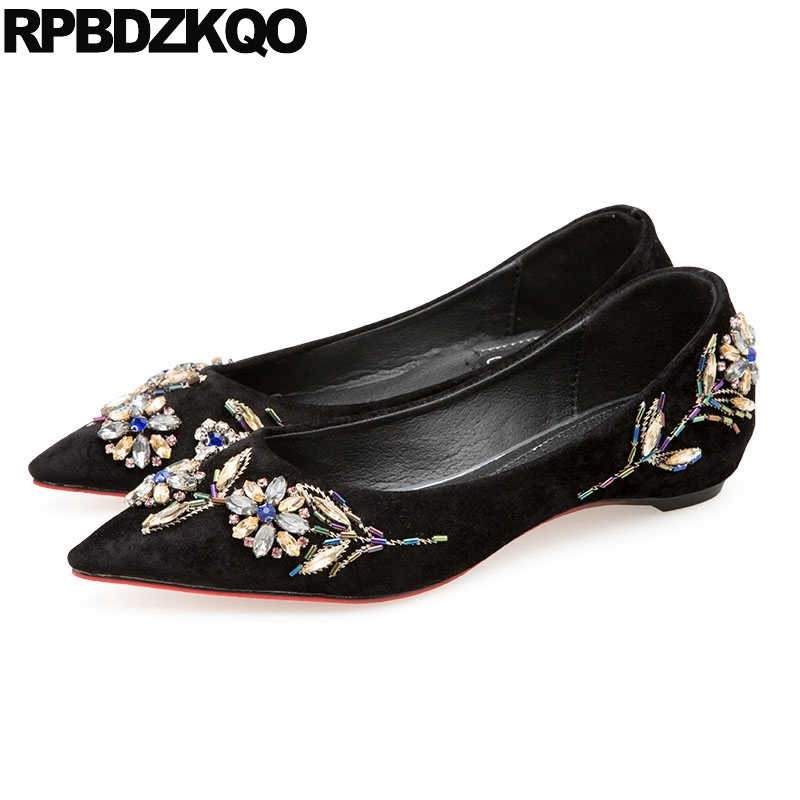 Velvet Flats Crystal Rhinestone Elevator Red Designer Dress Pointed Toe Black Party Women Chinese Wedding Shoes Beaded Suede
