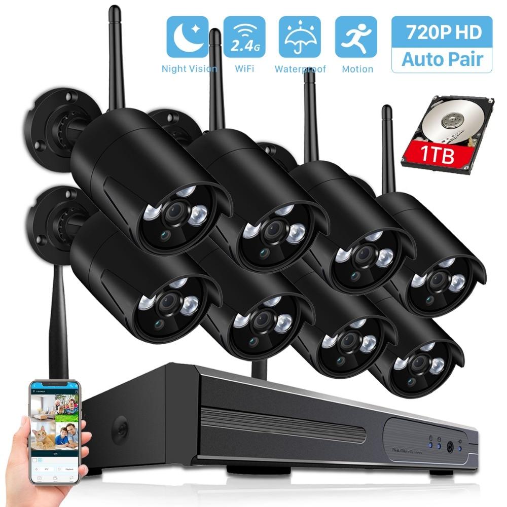 BESDER 8CH 1080 P sans fil NVR Kit 720 P système de caméra de sécurité à domicile 1.0MP HD Surveillance vidéo système de vidéosurveillance Wifi caméra extérieure-in Système de surveillance from Sécurité et Protection    1