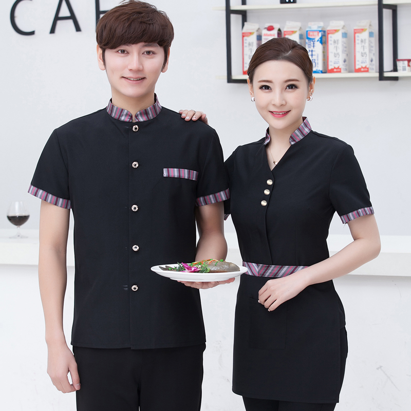 Hotel Service Summer Female Short Sleeved Overalls Shop Restaurant Catering Waiter Hot Pot Waitress Work Clothes J073