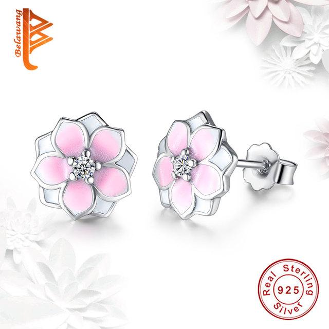 Fashion Magnolia Bloom Stud Earrings Solid Pale Cerise Enamel Pink CZ Flowers Earrings for Women Jewelry