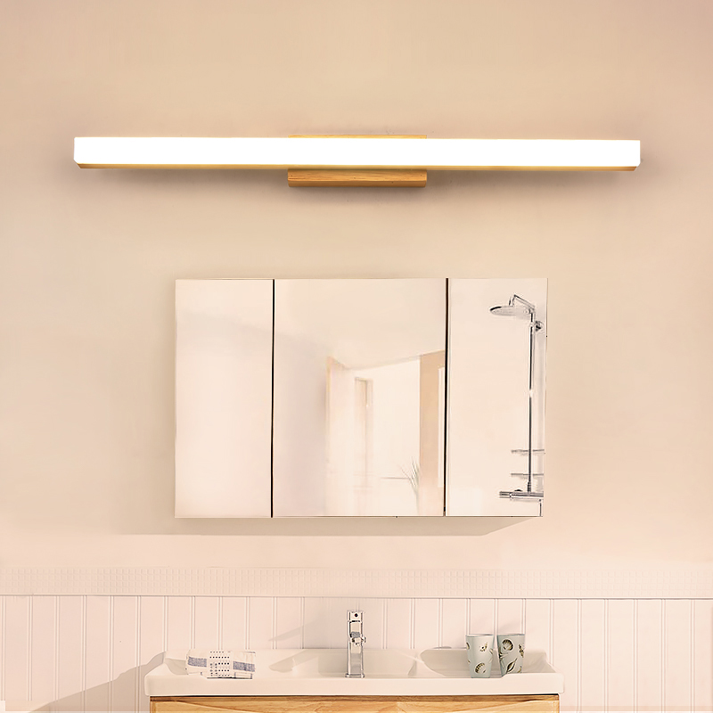 LED Wall Lamp Minimalism Mirror Front Light Bathroom makeup Wall Lights Modern wooden wall mounted sconces