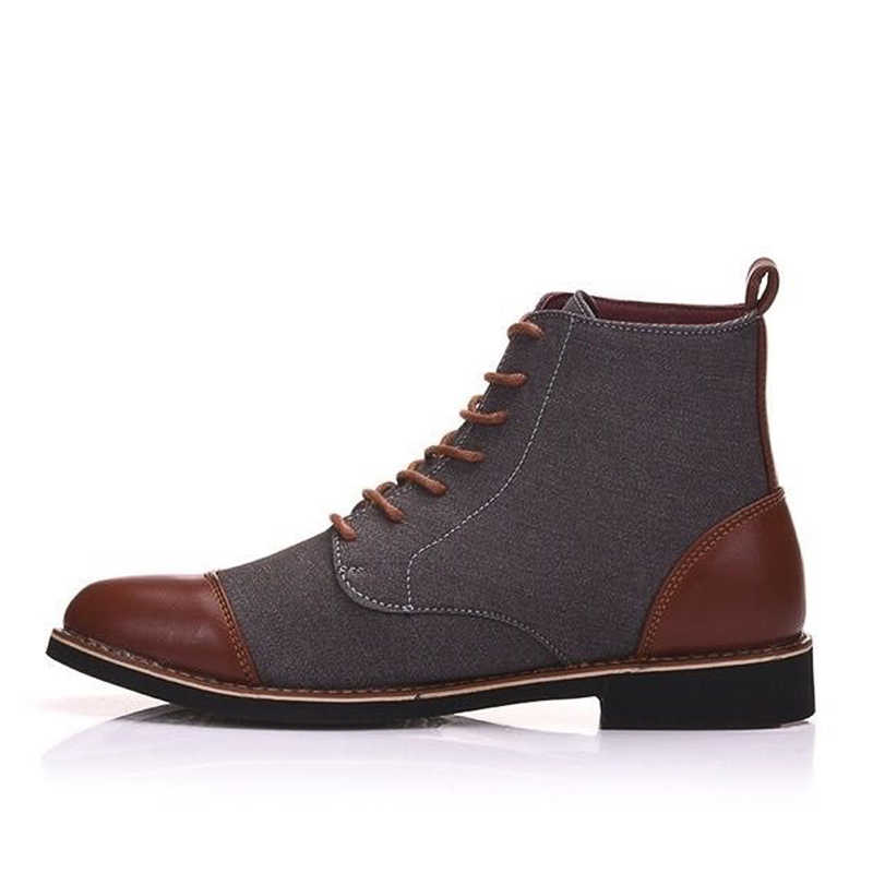 YWEEN Frühling Herbst Casual Lace Up schuhe Booties Männer Ankle Stiefel Oxfords Mode Leder Stiefel Männer Stiefel Große Größe 39 -48