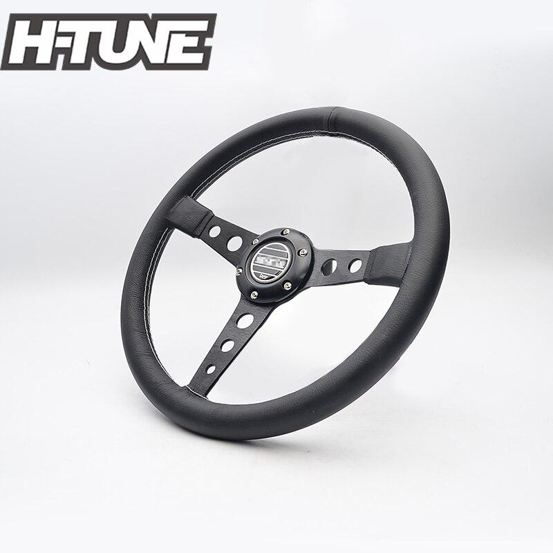 H-TUNE 350mm Genuine Leather Racing Steering Wheel ...