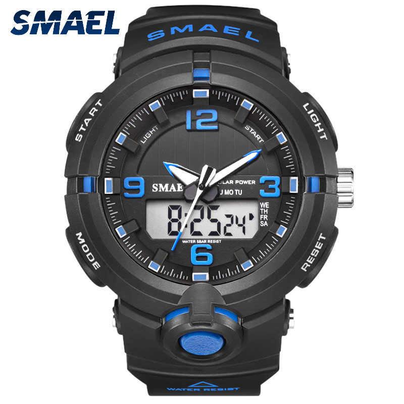 SMAEL 2019 nuevo reloj de energía Solar, relojes deportivos de cuarzo digital para hombre, reloj de pulsera multifuncional, reloj militar masculino, Relojes
