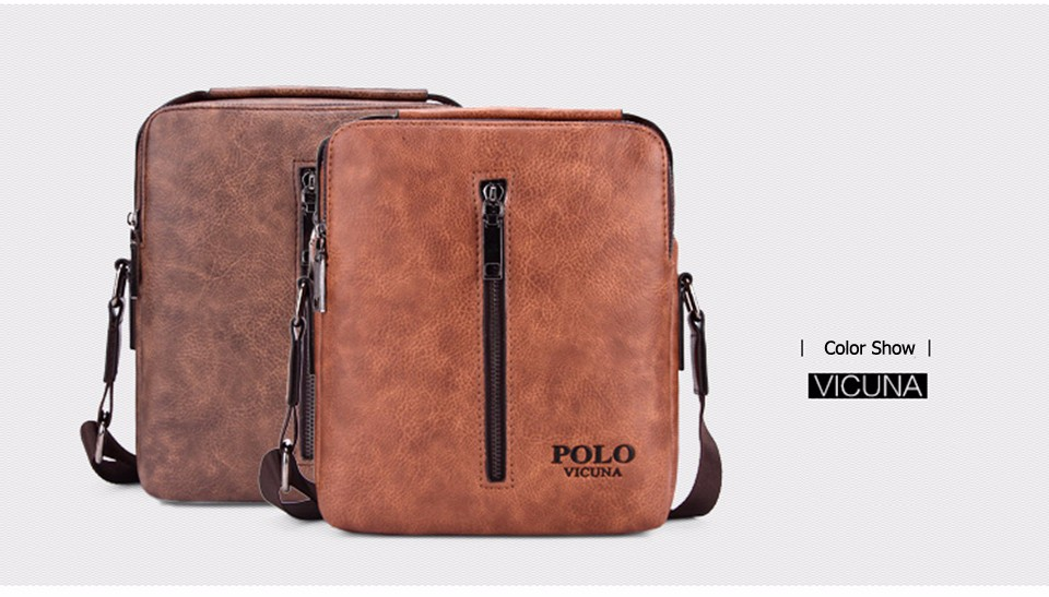 5d561ab96cff VICUNA POLO Vintage Casual High Quality Leather Mens Messenger Bag ...